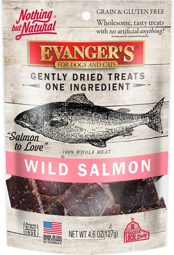 Evanger's Nothing but Natural Wild Salmon Gently Dried Dog & Cat Treats, 4.6-oz bag