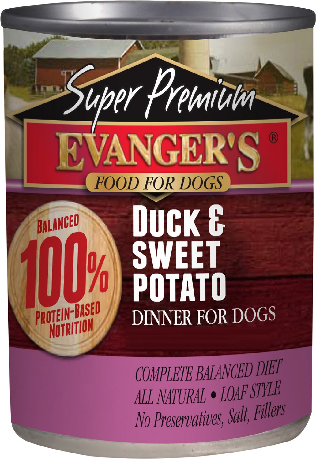 Evanger's Super Premium Duck & Sweet Potato Dinner Canned Dog Food, 12.8-oz