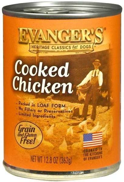 Evanger's Classic Recipes Cooked Chicken Grain-Free Canned Dog Food, 12.8-oz Image