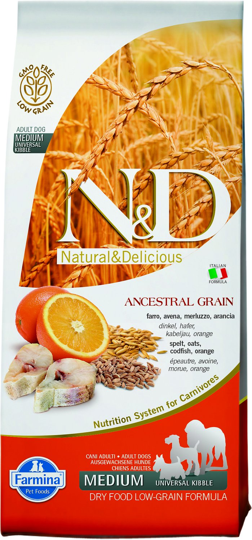 Farmina N&D Ancestral Grain Cod & Orange Medium Dry Dog Food, 5.5-lb bag