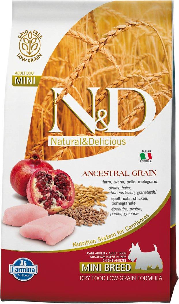 Farmina N&D Ancestral Grain Chicken & Pomegranate Mini Adult Dry Dog Food, 5.5-lb bag