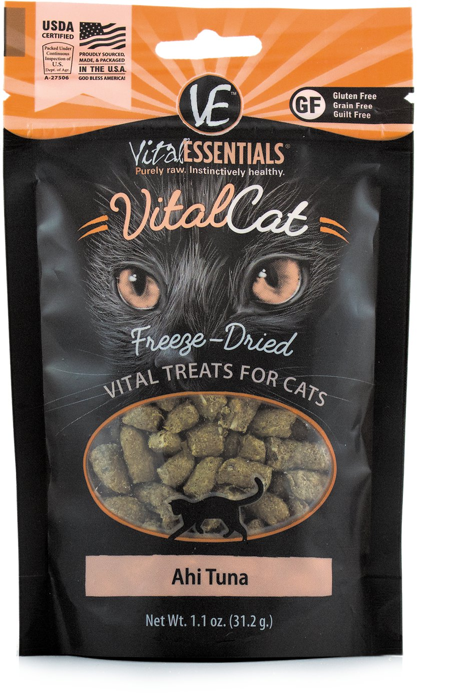 Vital Essentials Vital Cat Treats Ahi Tuna Freeze-Dried Cat Treats, 1.1-oz bag