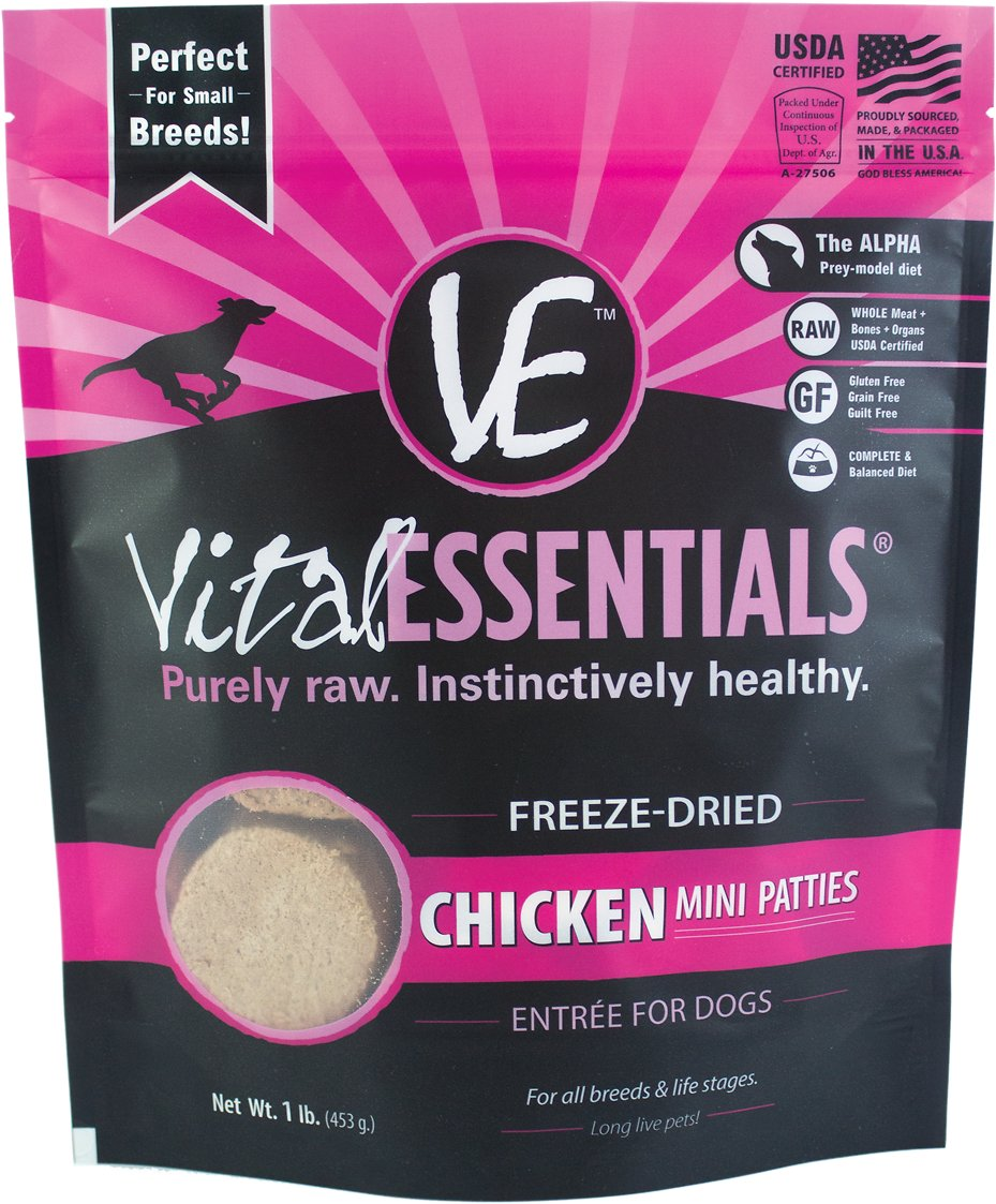 Vital Essentials Chicken Entree Mini Patties Grain-Free Freeze-Dried Dog Food, 1-lb bag