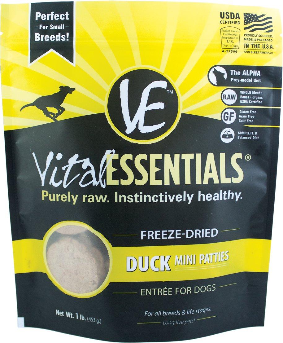 Vital Essentials Duck Entree Mini Patties Grain-Free Freeze-Dried Dog Food, 1-lb bag