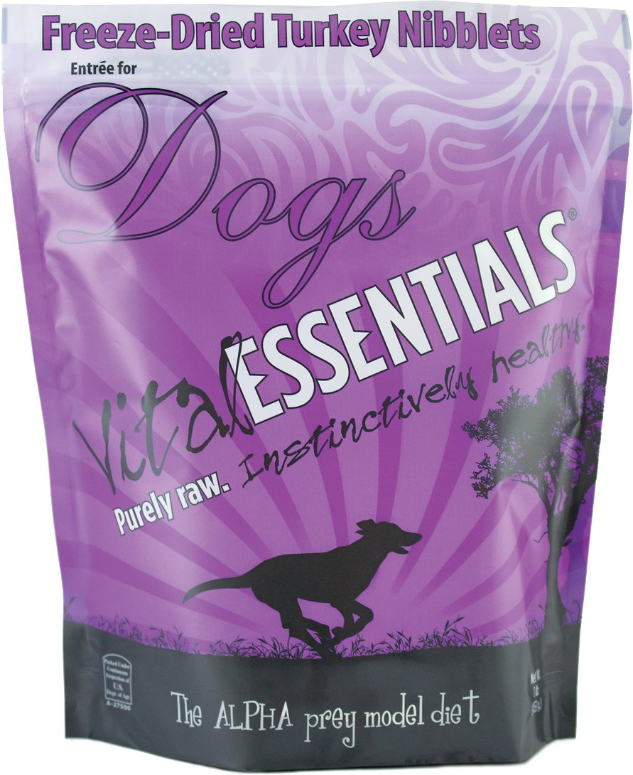 Vital Essentials Turkey Entree Nibblets Grain-Free Freeze-Dried Dog Food, 1-lb bag