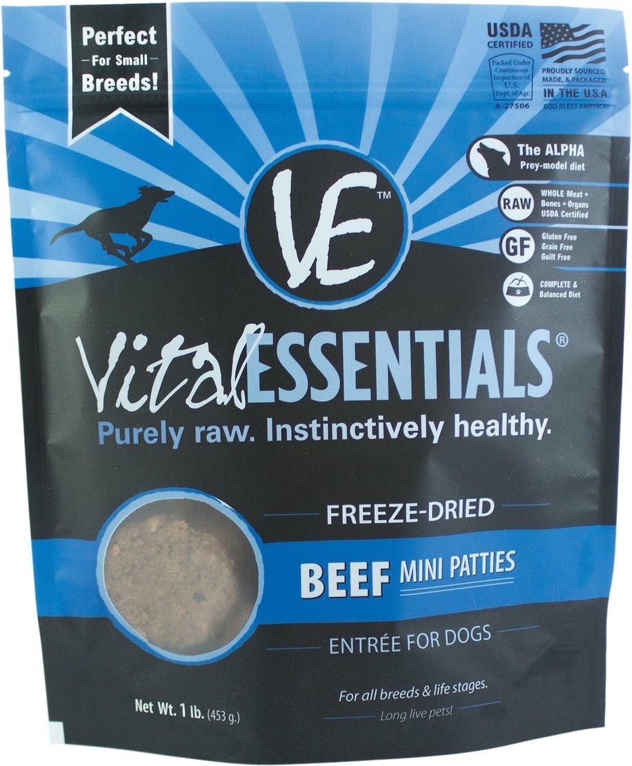 Vital Essentials Beef Entree Mini Patties Grain-Free Freeze-Dried Dog Food, 1-lb bag