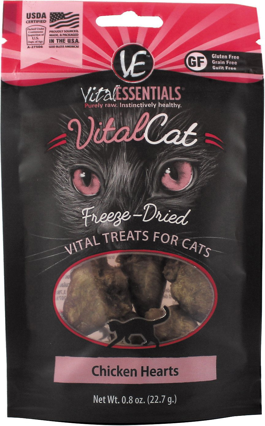 Vital Essentials Vital Cat Treats Chicken Hearts Freeze-Dried Cat Treats, 0.8-oz bag Image