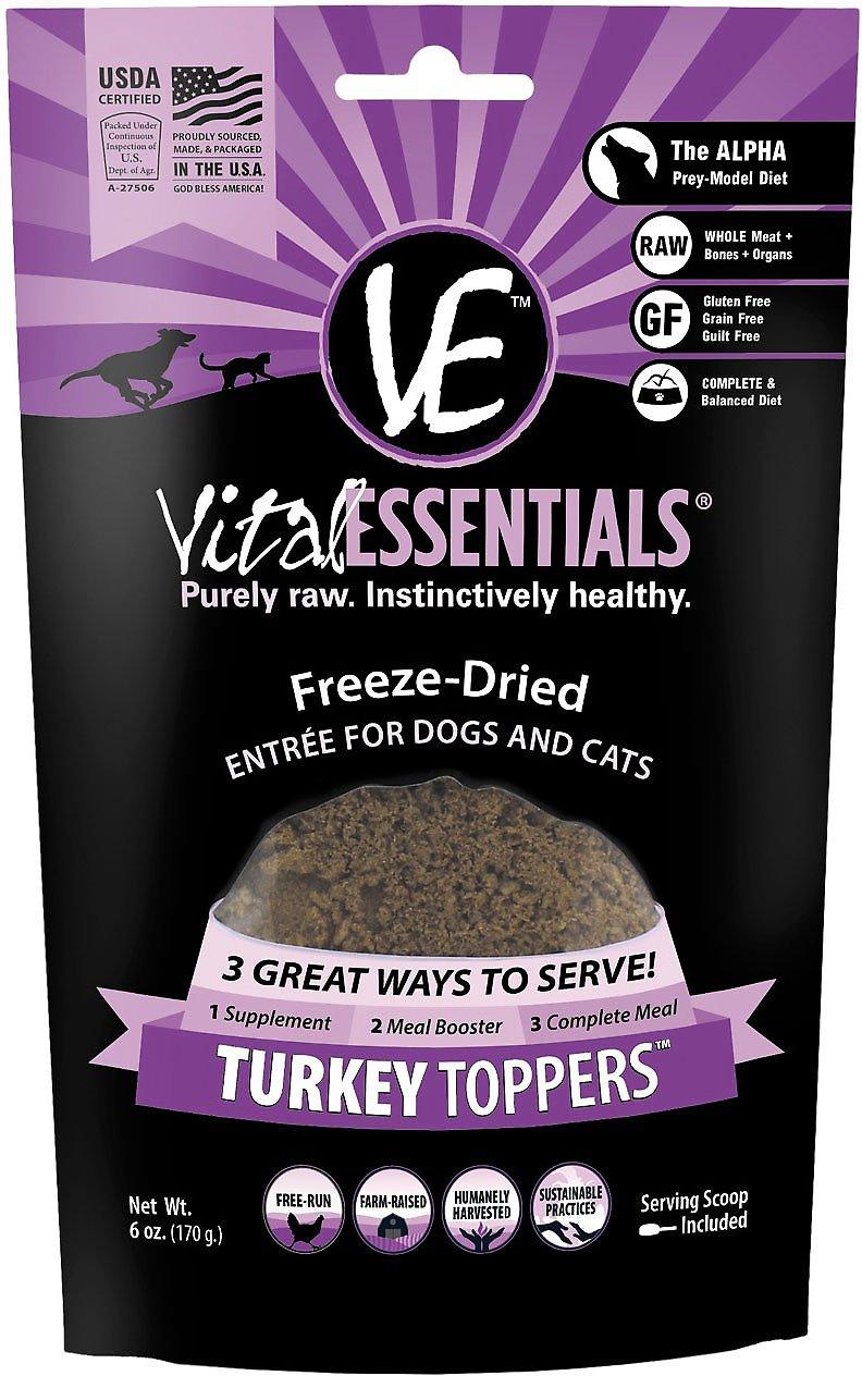 Vital Essentials Toppers Turkey Freeze-Dried Dog & Cat Food Topper, 6-oz bag