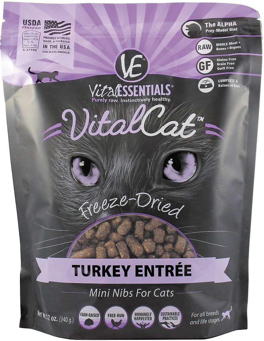 Vital Essentials Vital Cat Turkey Mini Nibs Entree Freeze-Dried Cat Food, 12-oz bag
