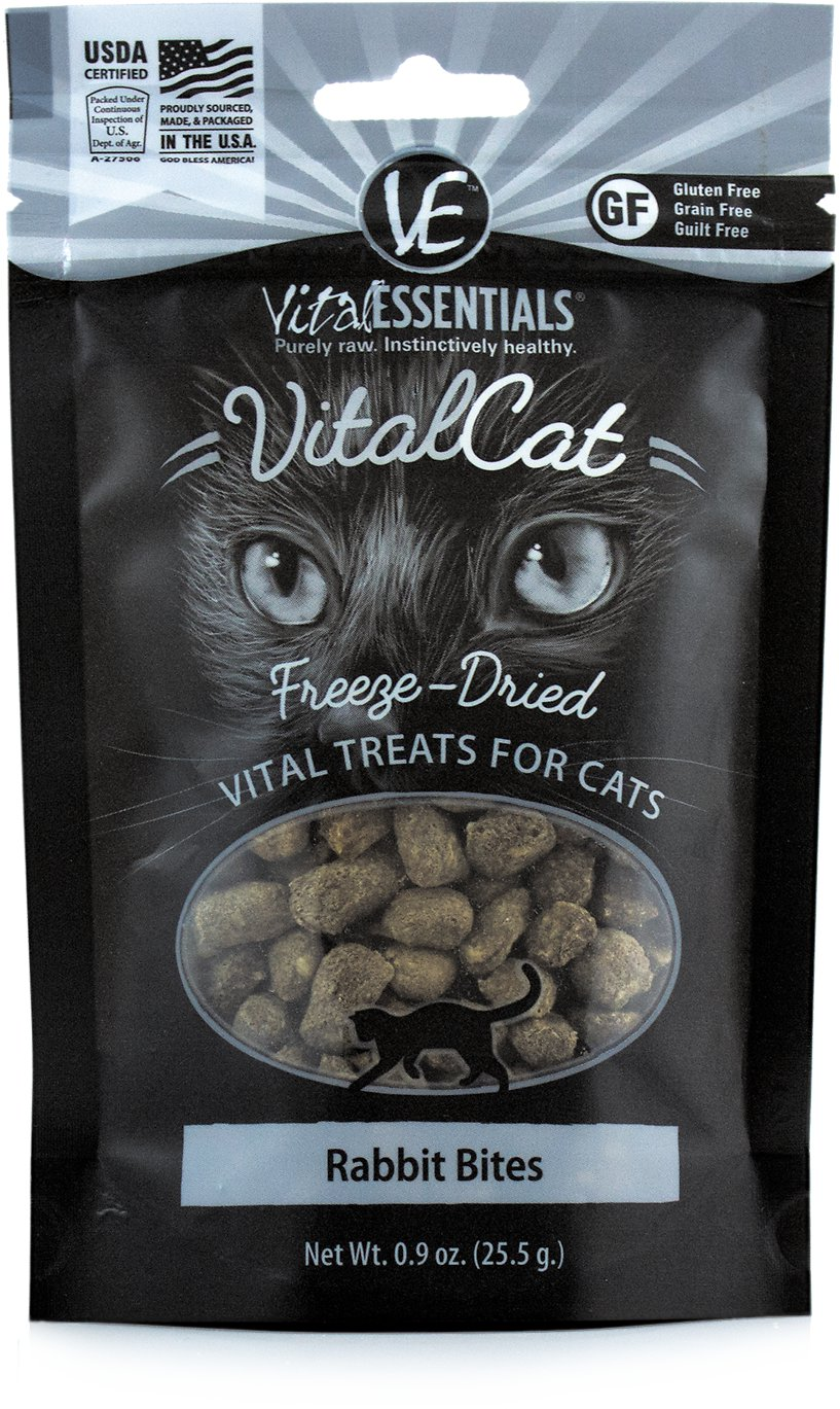 Vital Essentials Vital Cat Treats Rabbit Bites Freeze-Dried Cat Treats, 0.9-oz bag Image