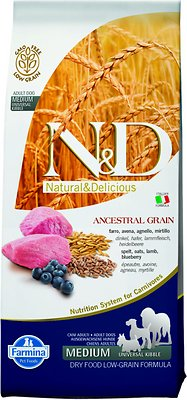 Farmina N&D Ancestral Grain Lamb & Blueberry Medium & Maxi Adult Dry Dog Food, 26.4-lb bag