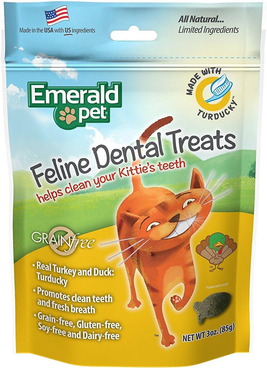 Emerald Pet Feline Dental Treats with Turducky Cat Treats, 3-oz bag