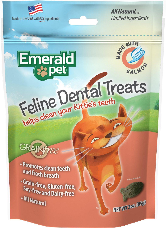 Emerald Pet Feline Dental Treats with Salmon Cat Treats, 3-oz Bag