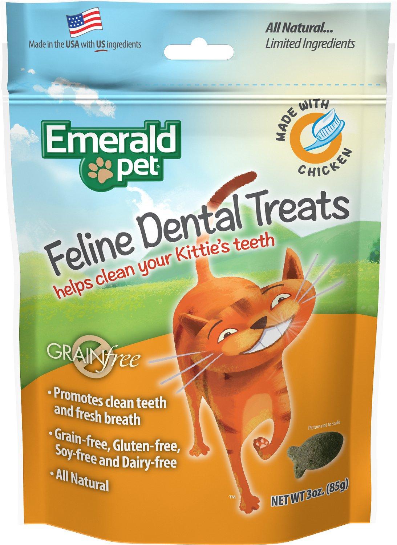 Emerald Pet Feline Dental Treats with Chicken Cat Treats, 3-oz bag