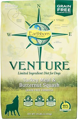 Earthborn Holistic Venture Turkey Meal & Butternut Squash Limited Ingredient Diet Grain-Free Dry Dog Food, 25-lb