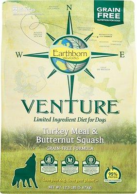 Earthborn Holistic Venture Turkey Meal & Butternut Squash Limited Ingredient Diet Grain-Free Dry Dog Food, 12.5-lb bag