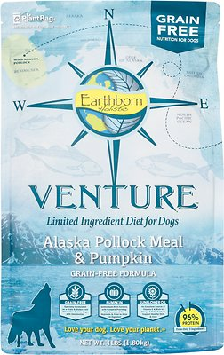 Earthborn Holistic Venture Alaska Pollock Meal & Pumpkin Limited Ingredient Diet Grain-Free Dry Dog Food, 4-lb bag
