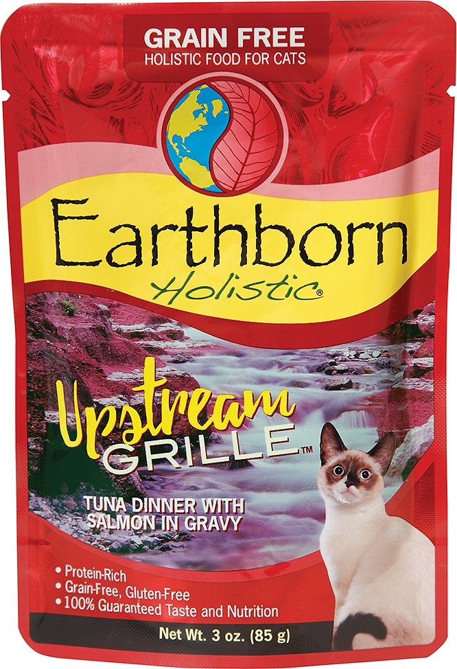 Earthborn Holistic Upstream Grille Tuna Dinner with Salmon in Gravy Grain-Free Cat Food Pouches, 3-oz pouch