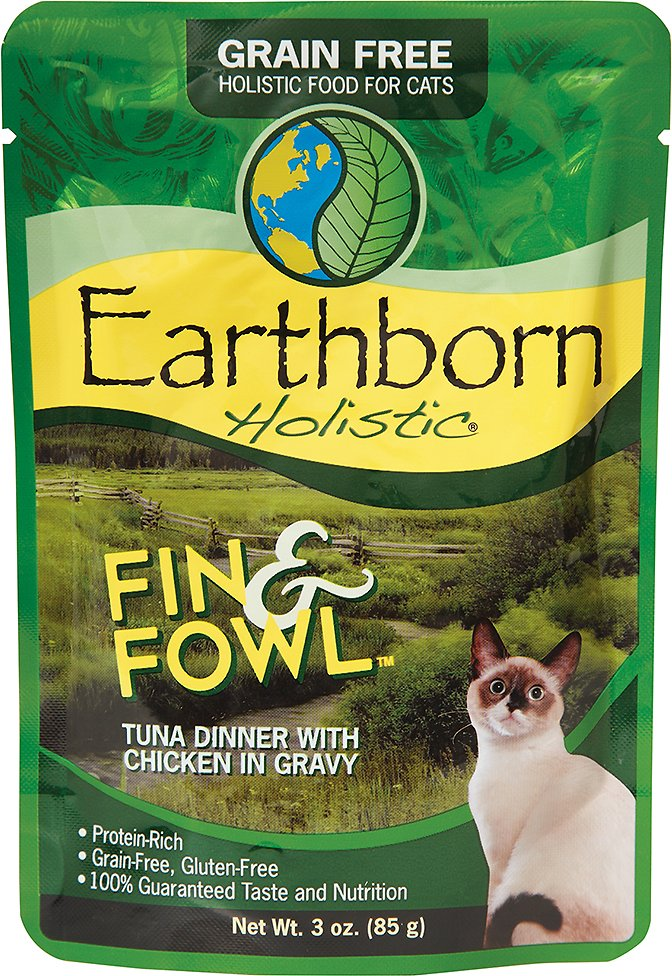 Earthborn Holistic Fin & Fowl Tuna Dinner with Chicken in Gravy Grain-Free Cat Food Pouches, 3-oz pouch
