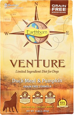 Earthborn Holistic Venture Duck Meal & Pumpkin Limited Ingredient Diet Grain-Free Dry Dog Food, 4-lb bag