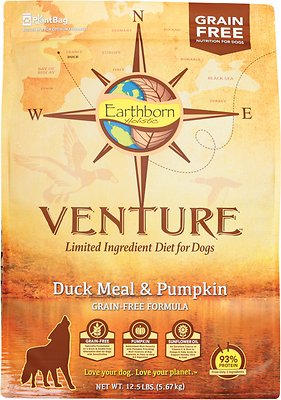 Earthborn Holistic Venture Duck Meal & Pumpkin Limited Ingredient Diet Grain-Free Dry Dog Food, 12.5-lb bag