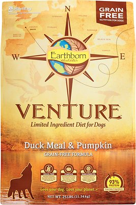 Earthborn Holistic Venture Duck Meal & Pumpkin Limited Ingredient Diet Grain-Free Dry Dog Food, 25-lb