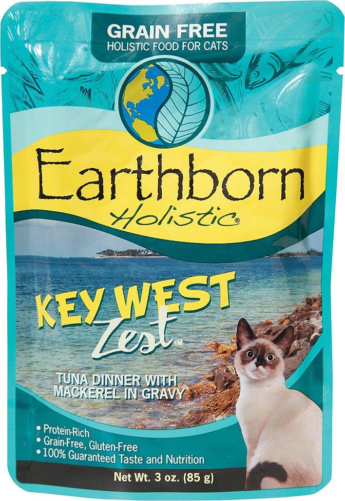Earthborn Holistic Key West Zest Tuna Dinner with Mackerel in Gravy Grain-Free Cat Food Pouches, 3-oz pouch