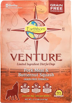 Earthborn Holistic Venture Pork Meal & Butternut Squash Limited Ingredient Diet Grain-Free Dry Dog Food, 12.5-lb bag