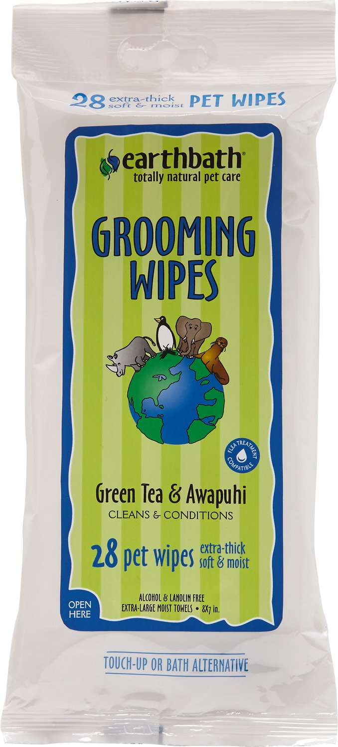 Earthbath Green Tea & Awapuhi Travel Grooming Wipes for Dogs & Cats, 28 count Image