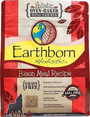 Earthborn Holistic Grain-Free Bison Meal Recipe Dog Treats, 14-oz bag