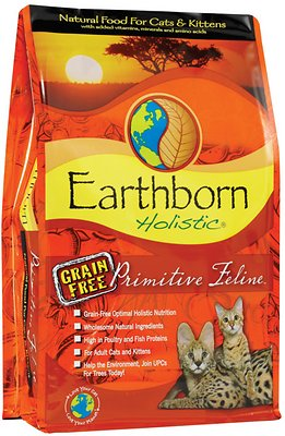 Earthborn Holistic Primitive Feline Grain-Free Natural Dry Cat & Kitten Food, 5-lb