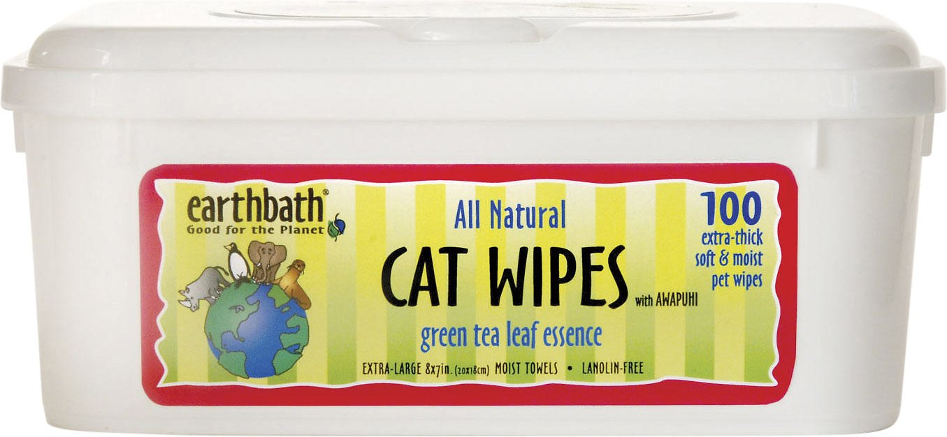 Earthbath Awapuhi & Green Tea Grooming Wipes for Cats, 100 count