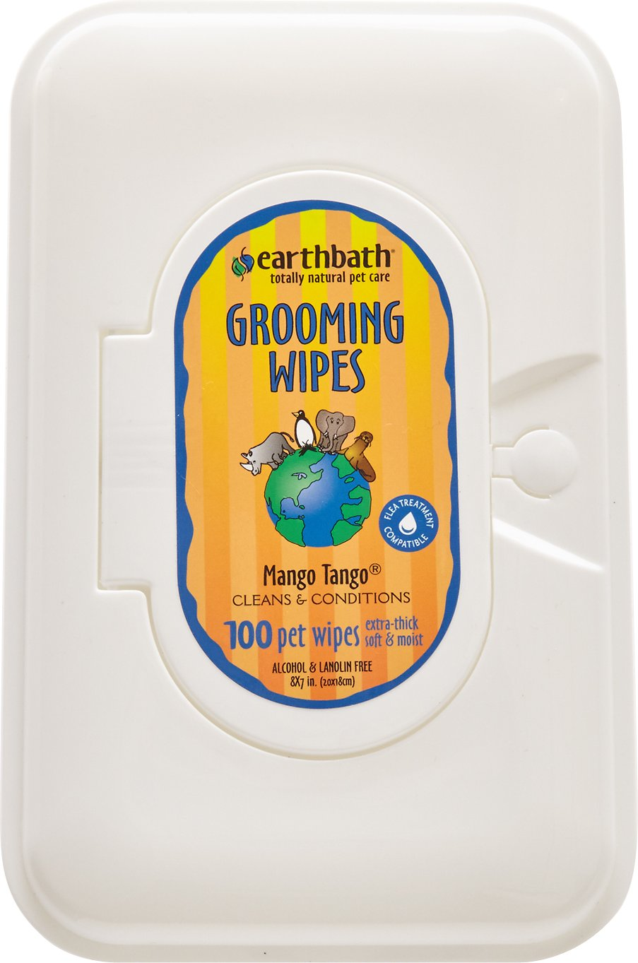 Earthbath Grooming Wipes for Dogs & Cats, Mango Tango, 100-count (Size: 100-count) Image