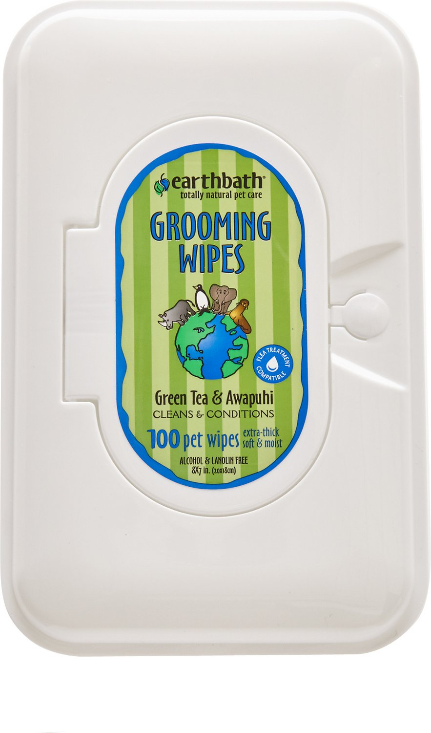 Earthbath Green Tea & Awapuhi Grooming Wipes for Dogs & Cats, 100 count