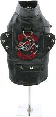 Doggie Design Biker Dawg Motorcycle Dog Jacket, Black, Medium