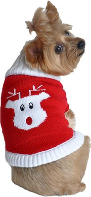 Doggie Design Cotton Dog Sweater, Holiday Red Rudolph, Large