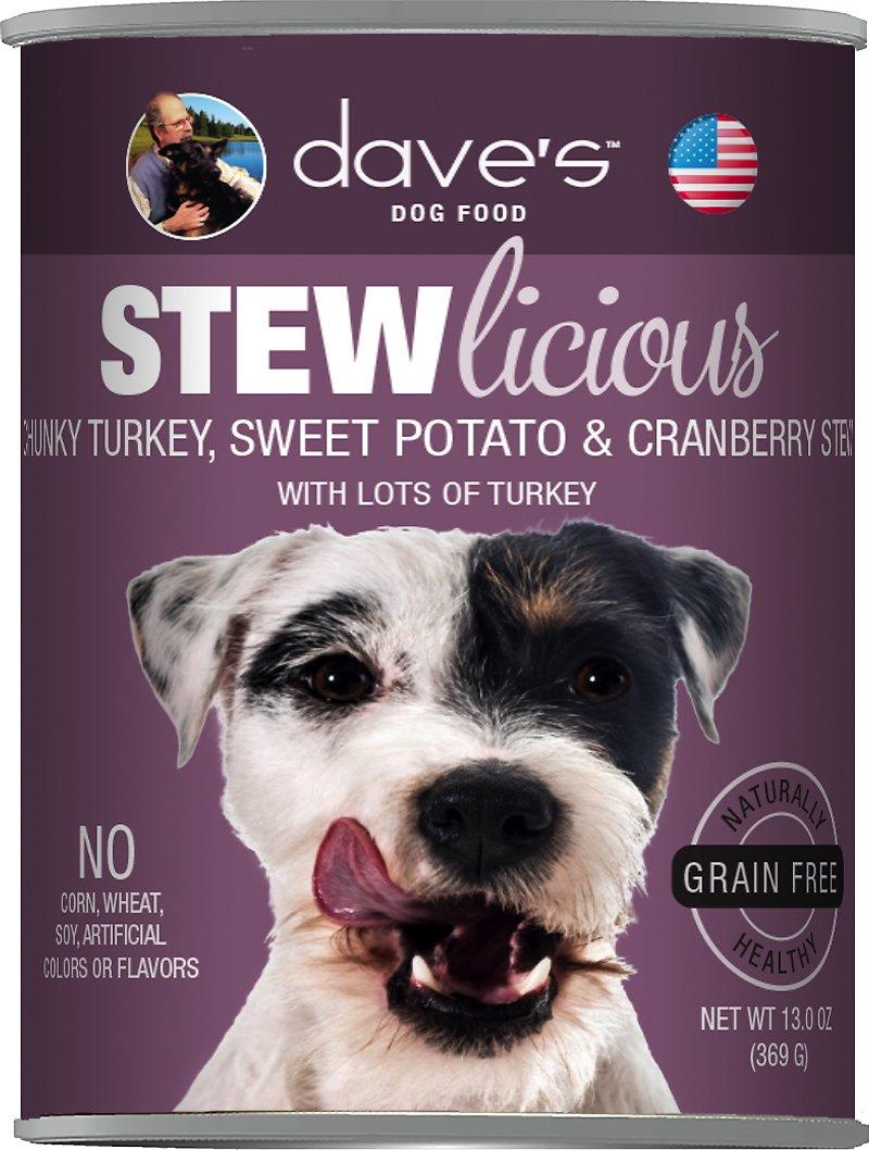 Dave's Dog Food Stewlicious Grain-Free Chunky Turkey, Sweet Potato & Cranberry Stew Canned Dog Food, 13-oz