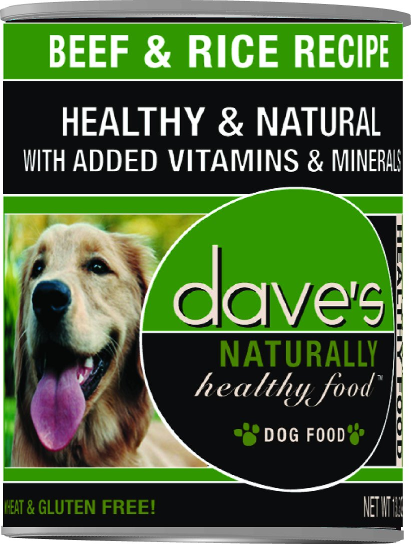 Dave's Dog Food Naturally Healthy Beef & Rice Recipe Canned Dog Food, 13.2-oz