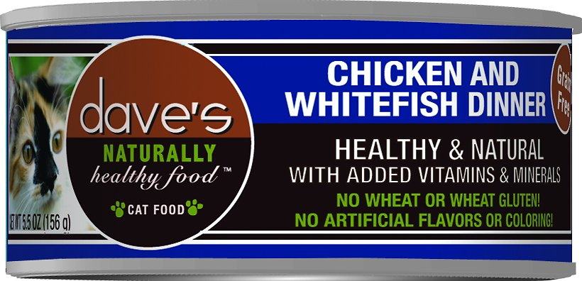 Dave's Cat Food Naturally Healthy Grain-Free Chicken & Whitefish Dinner Canned Cat Food, 5.5-oz