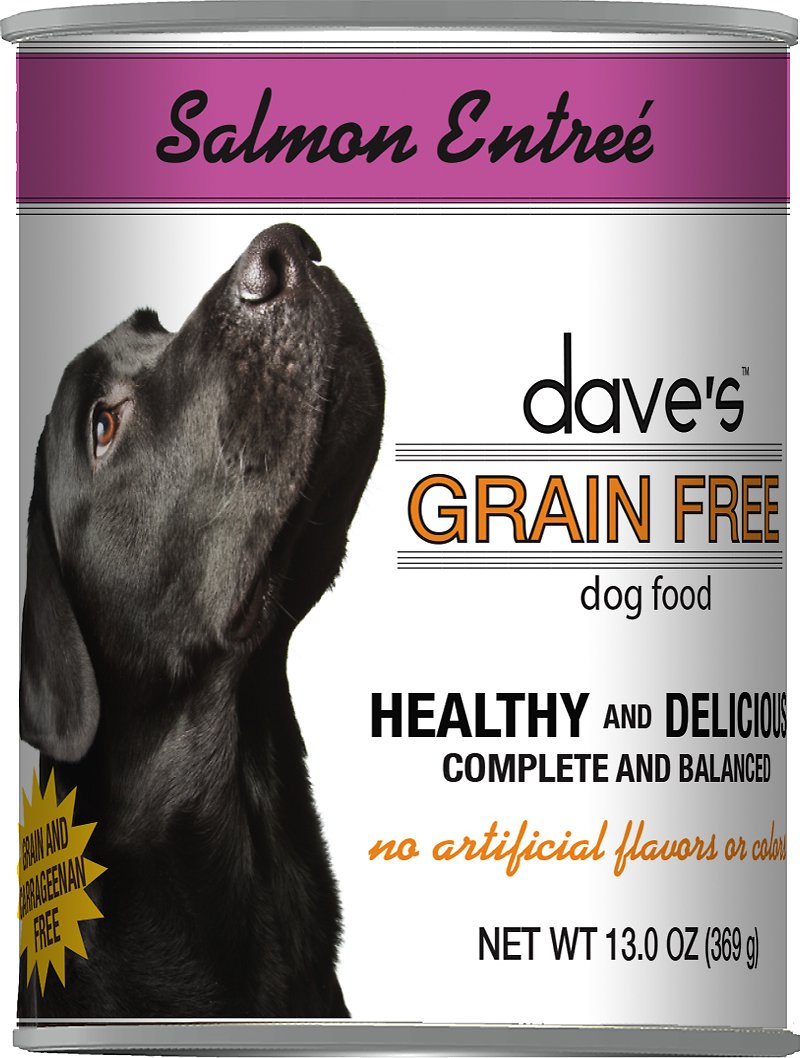 Dave's Dog Food Grain-Free Poached Salmon Entree Canned Dog Food, 13-oz