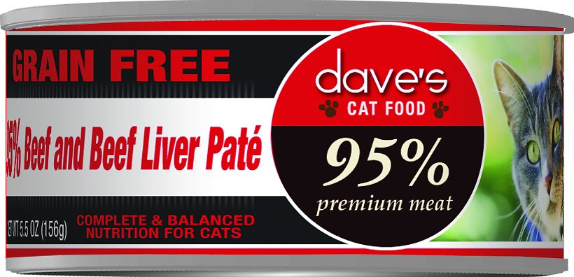 Dave's Cat Food 95% Premium Meat Grain-Free Beef & Beef Liver Pate Canned Cat Food, 5.5-oz