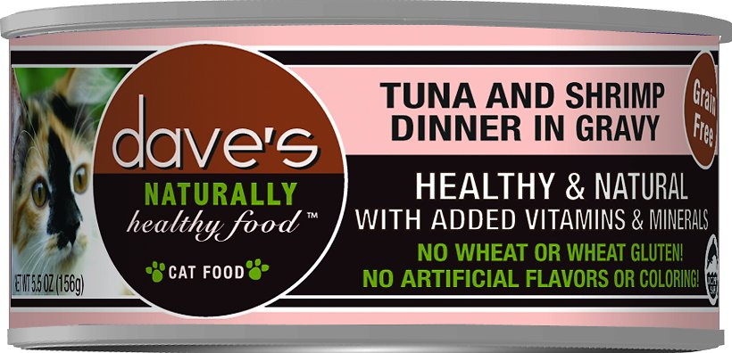 Dave's Cat Food Naturally Healthy Grain-Free Grilled Tuna & Shrimp Dinner in Gravy Canned Cat Food, 5.5-oz