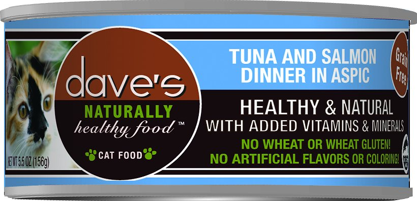 Dave's Cat Food Naturally Healthy Grain-Free Tuna & Salmon Dinner in Aspic Canned Cat Food, 5.5-oz