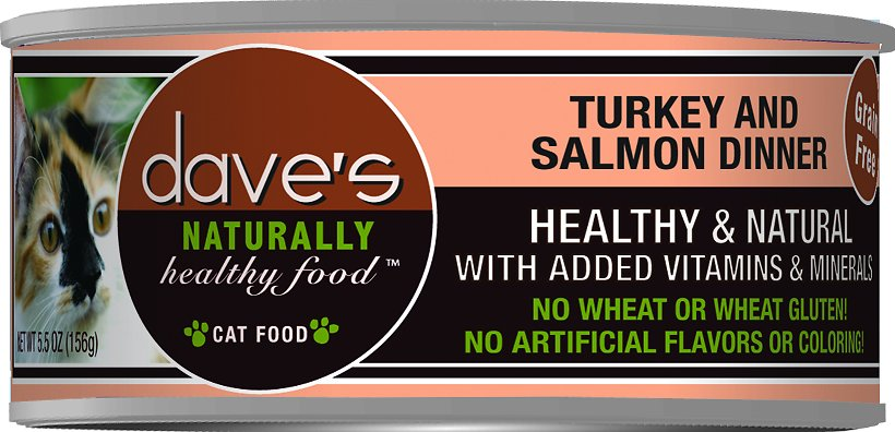 Dave's Cat Food Naturally Healthy Grain-Free Turkey & Salmon Dinner Canned Cat Food, 5.5-oz