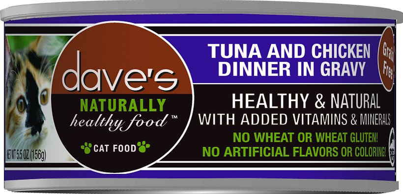 Dave's Cat Food Naturally Healthy Grain-Free Tuna & Chicken Dinner in Gravy Canned Cat Food, 5.5-oz