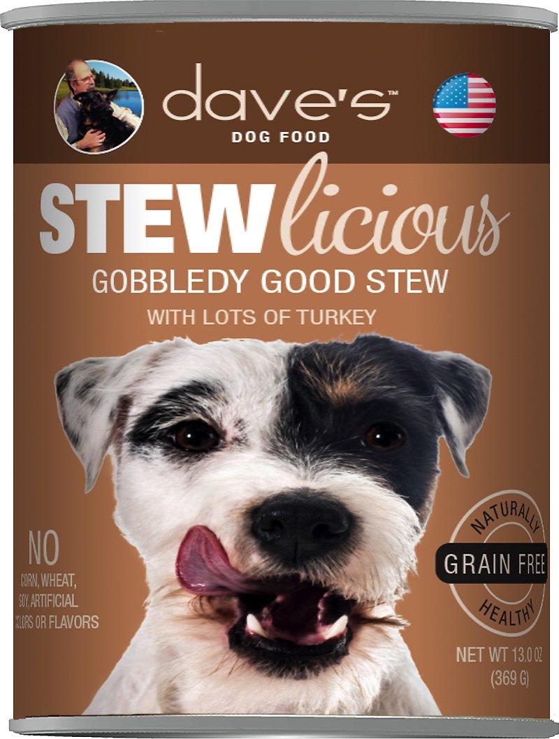 Dave's Dog Food Stewlicious Grain-Free Gobbledy Good Stew Canned Dog Food, 13-oz