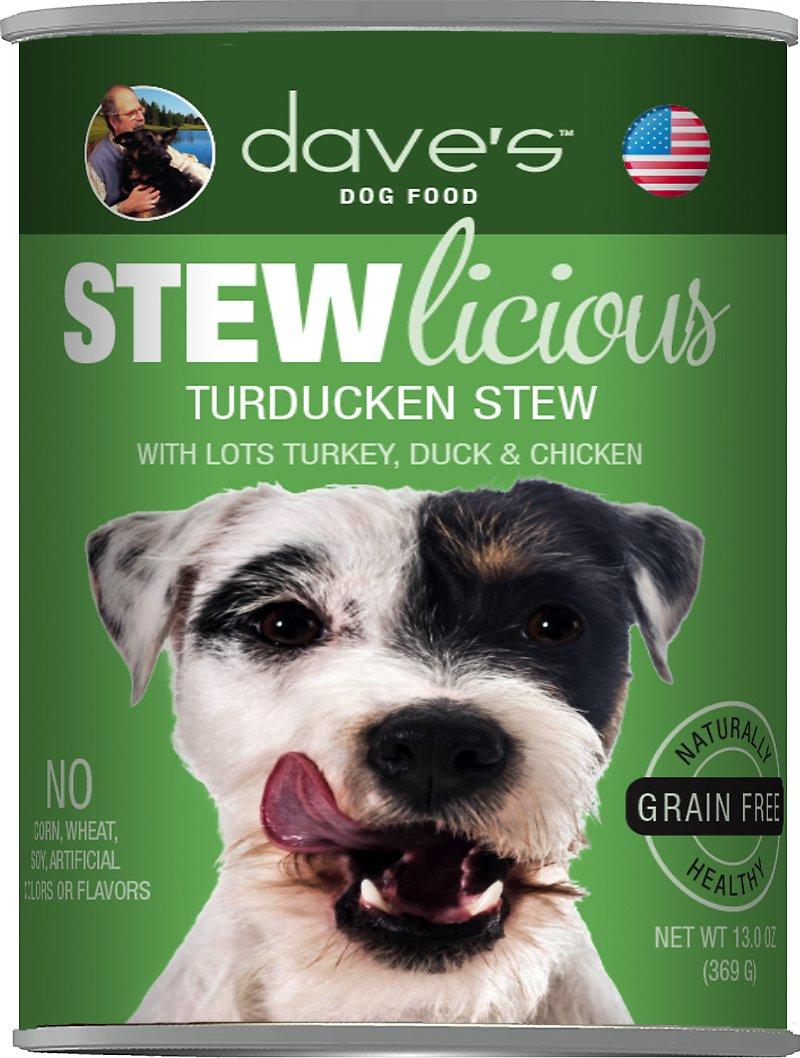 Dave's Dog Food Stewlicious Grain-Free Turducken Stew Canned Dog Food, 13-oz