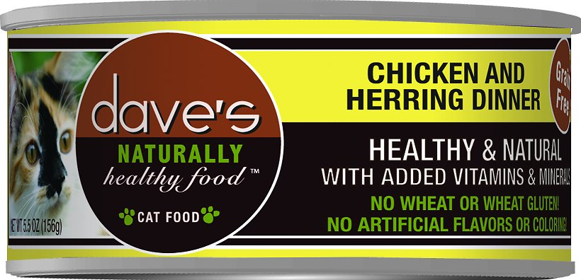 Dave's Cat Food Naturally Healthy Grain-Free Chicken & Herring Dinner Canned Cat Food, 5.5-oz