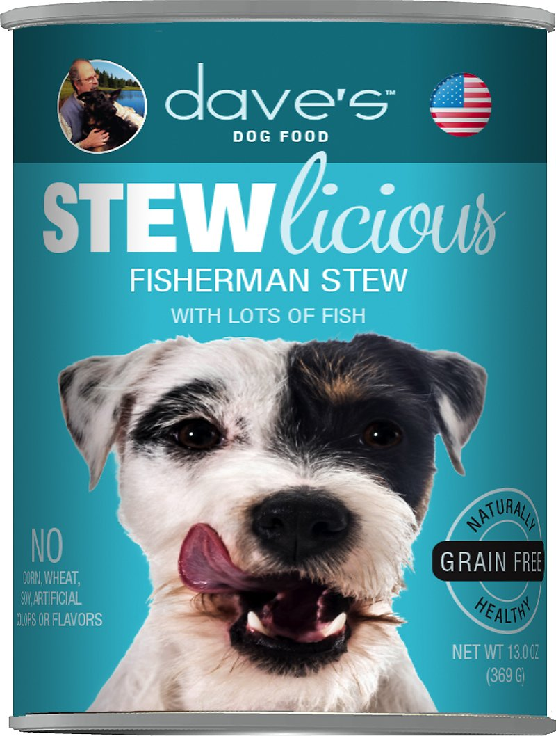 Dave's Dog Food Stewlicious Grain-Free Fisherman Stew Canned Dog Food, 13-oz
