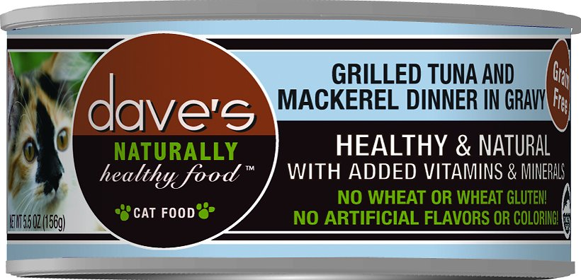 Dave's Cat Food Naturally Healthy Grain-Free Grilled Tuna & Mackerel Dinner in Gravy Canned Cat Food, 5.5-oz